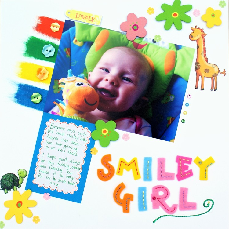 Smiley Girl layout at http://jennifergracecreates.com
