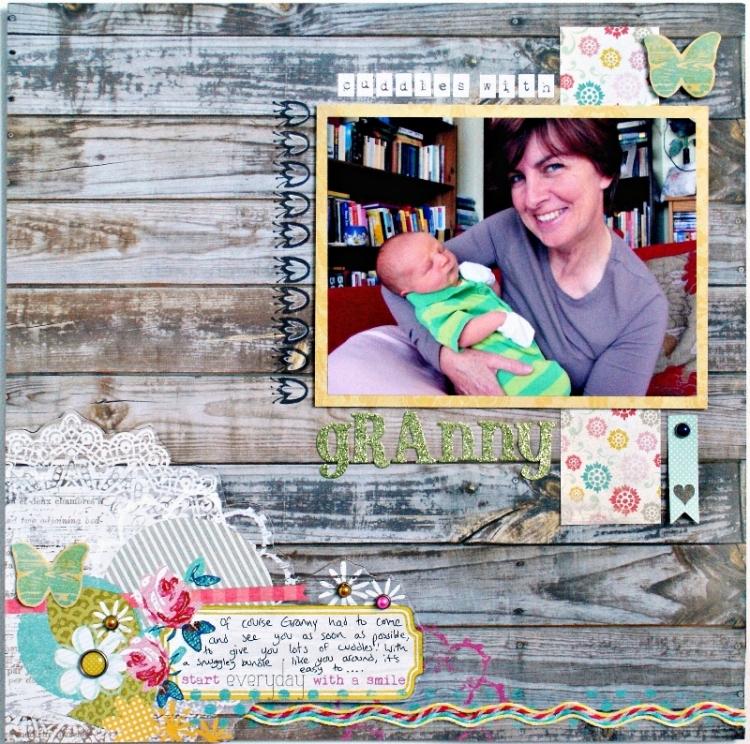 Cuddles With Granny Layout using My Mind's Eye Miss Caroline at Jennifer Grace Creates