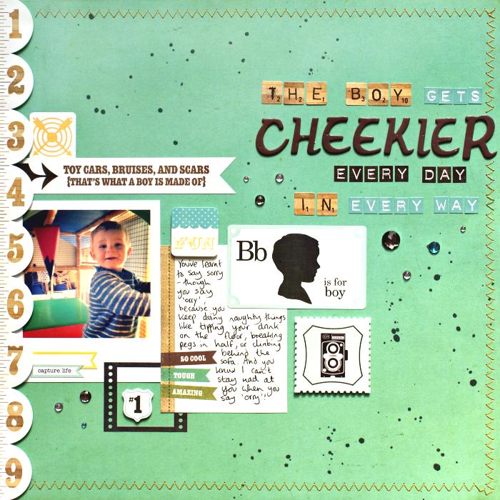 The Boy Gets Cheekier layout by Jennifer Grace