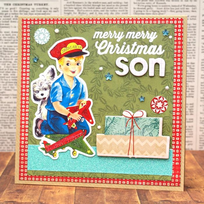 Merry Merry Christmas Son Card by Jennifer Grace