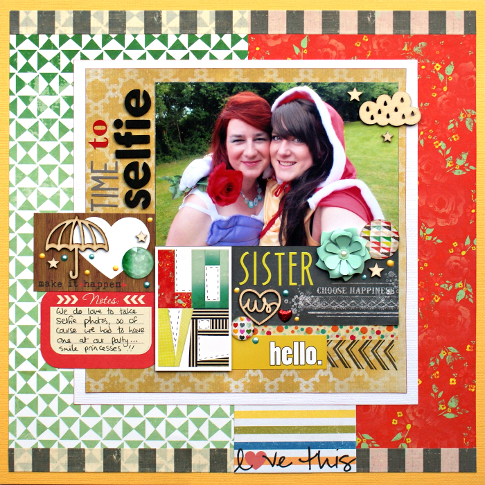 Time To Selfie, Sister layout by Jennifer Grace