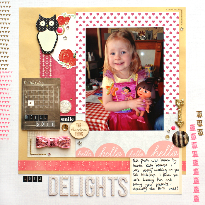 Dora Delights layout by Jennifer Grace