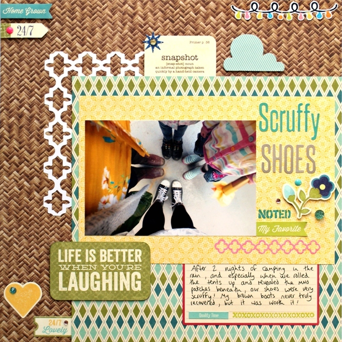 Scruffy Shoes layout by Jennifer Grace