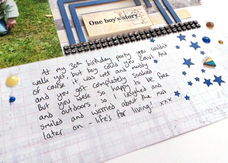 One Boy's Story layout by Jennifer Grace using 13 Arts 'Timeless' Collection
