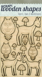 Deers, Owls, & Mushrooms Scrap 365 Wooden Shapes