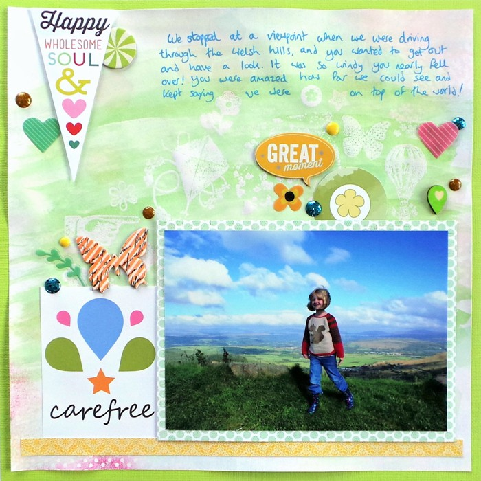 Carefree layout by Jennifer Grace using a Resist Technique
