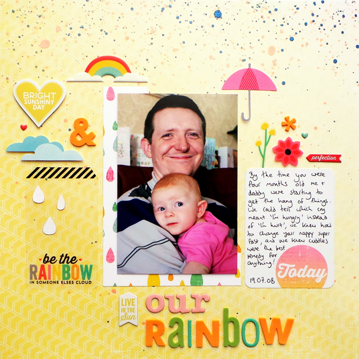Our Rainbow layout by Jennifer Grace using Pink Paislee Hello Sunshine