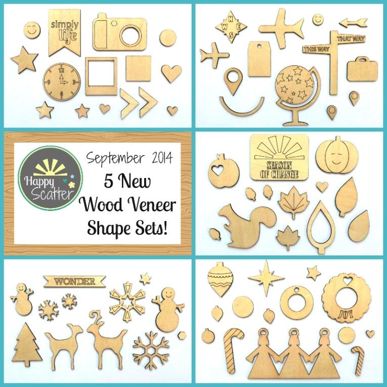 September 2014 New Wood Veneer Shapes at Happy Scatter