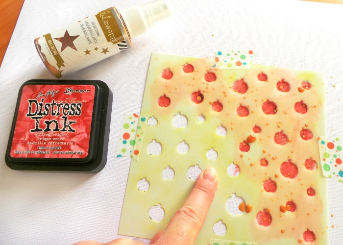 Using the Happy Scatter 'A Lot Of Apples' stencil