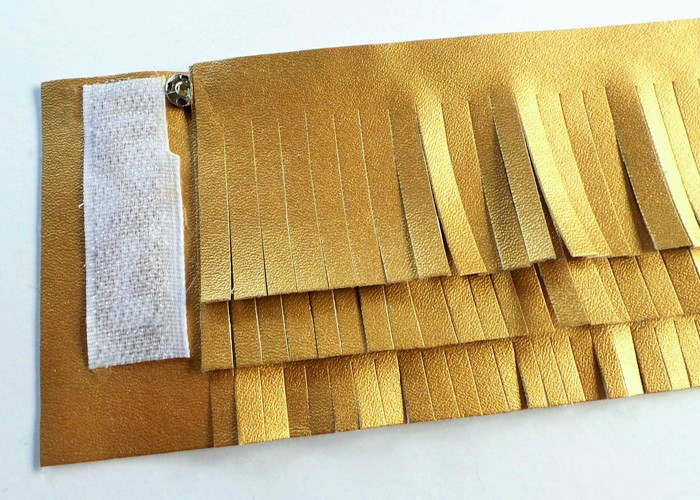 No-Sew Gold Faux Leather Fringe Cuff at Jennifer Grace Creates