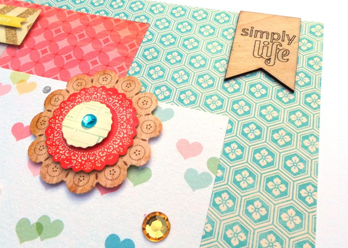 Ouch layout by Jennifer Grace using Happy Scatter Simply Life Wood Veneers