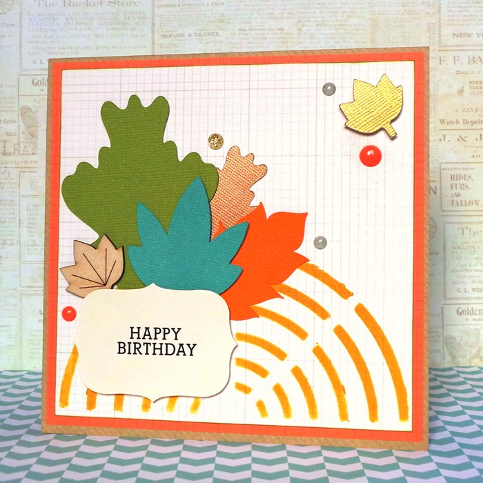 Leafy Birthday Card by Jennifer Grace using Happy Scatter