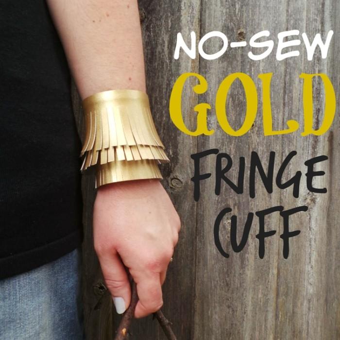 No-Sew Gold Faux Leather Fringe Cuff at Jennifer Grace Creates