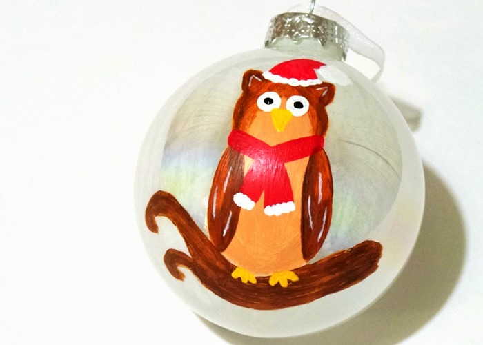 Hand Painted Owl Bauble at Jennifer Grace Creates
