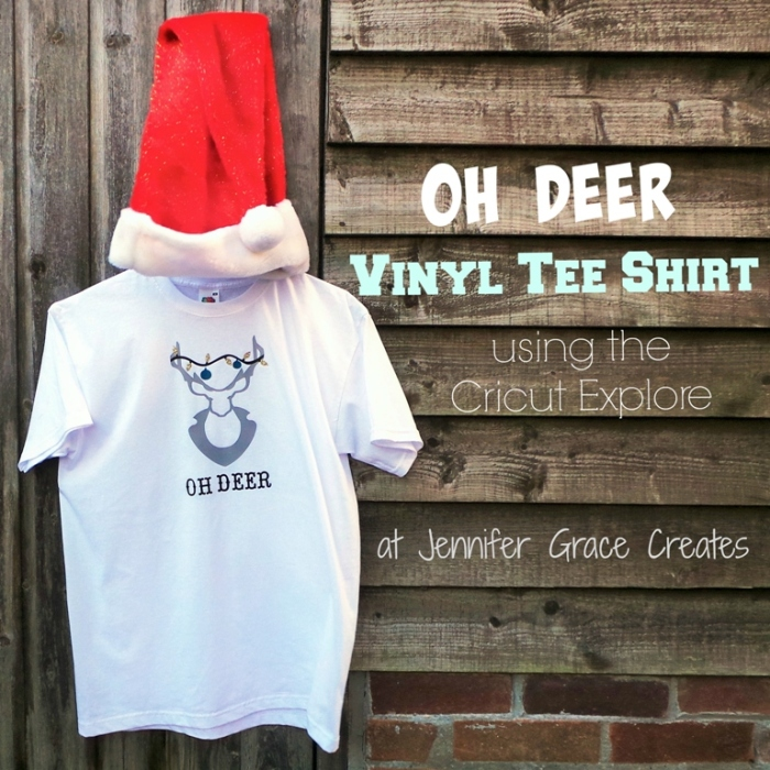 Oh Deer Vinyl Tee Shirt using the Cricut Explore at Jennifer Grace Creates