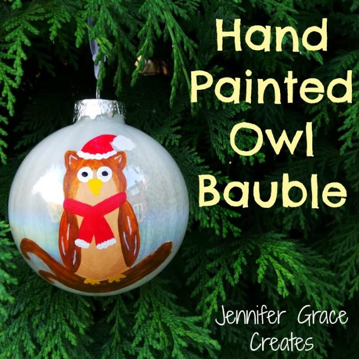 Hand Painted Owl Bauble at Jennifer Grace Creates