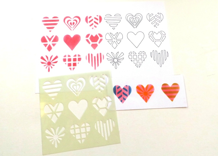 Geometric Hearts Pattern Stencil from Happy Scatter