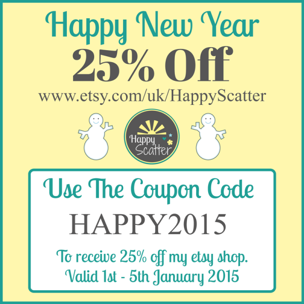 Happy Scatter 25% Off Coupon Code 1st - 5th  January 2015