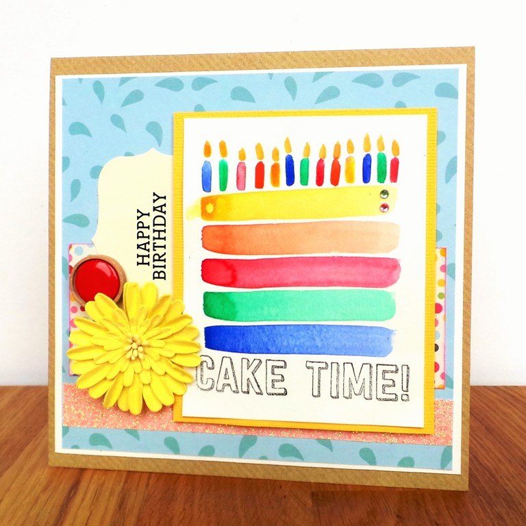 Watercolour Cake Birthday Card at Jennifer Grace Creates