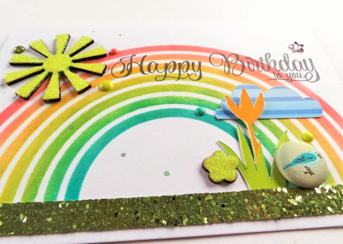 See A Rainbow Stencil Spring Card at Jennifer Grace Creates