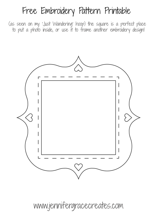 Frame Embroidery Pattern Free Printable at Jennifer Grace Creates