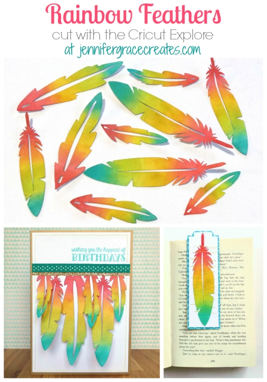 DIY Embellishments Rainbow Feathers Cut With The Cricut Explore at Jennifer Grace Creates