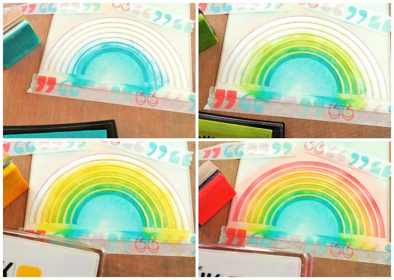 See A Rainbow Stencil Spring Card at Jennifer Grace Creates