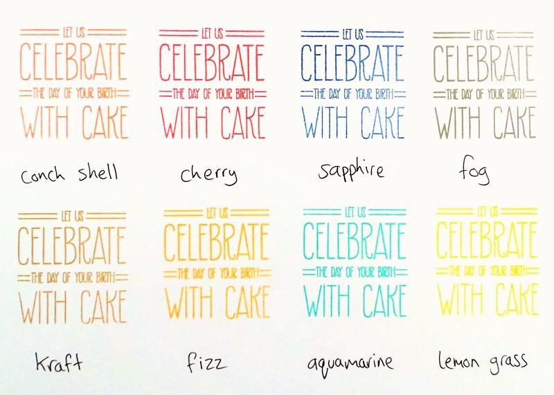 Avery Elle Pigment Ink Pads Review at Jennifer Grace Creates (Colours include Conch Shell, Cherry, Sapphire, Fog, Kraft, Fizz, Aquamarine, Lemon Grass)
