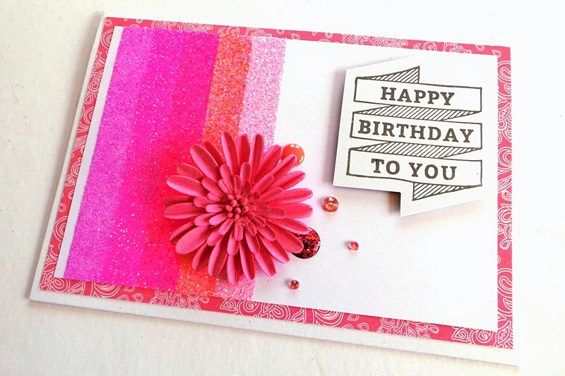 Ombre Gitter Stripes Birthday Card Tutorial at Jennifer Grace Creates