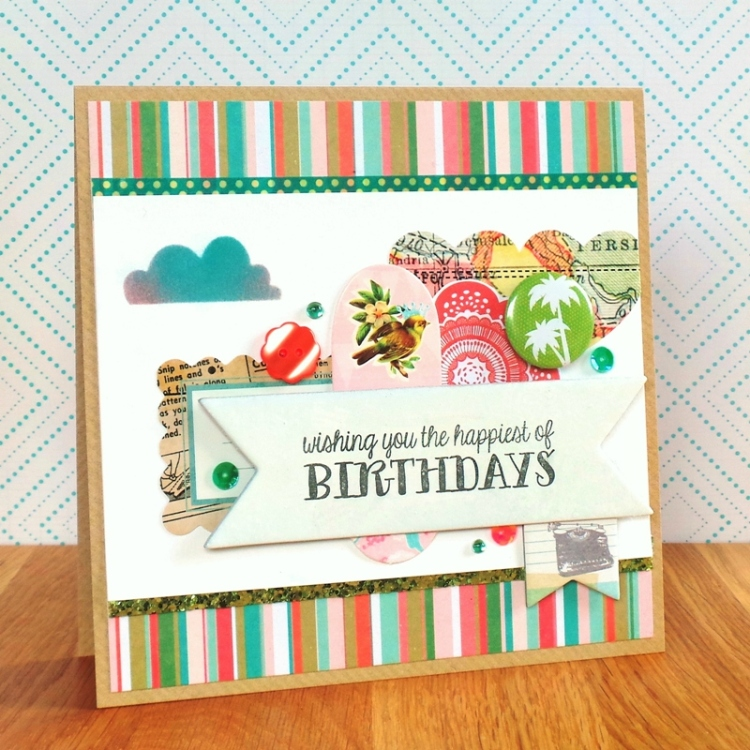 The Card Concept Challenge - Coral, Aqua, Green, & White at Jennifer Grace Creates