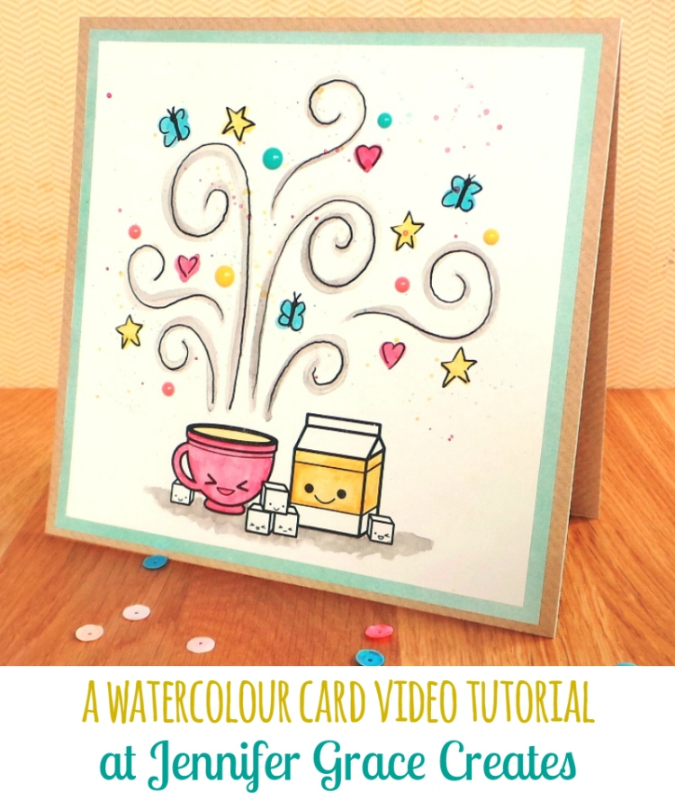 A Watercolour Card Video Tutorial for Sweet Stamp Shop at Jennifer Grace Creates
