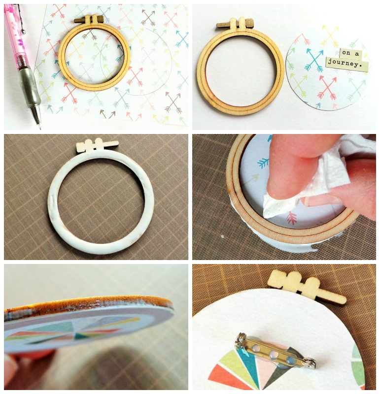 A Brooch using the Crate Paper Embroidery Hoop Wood Veneer Shapes at Jennifer Grace Creates