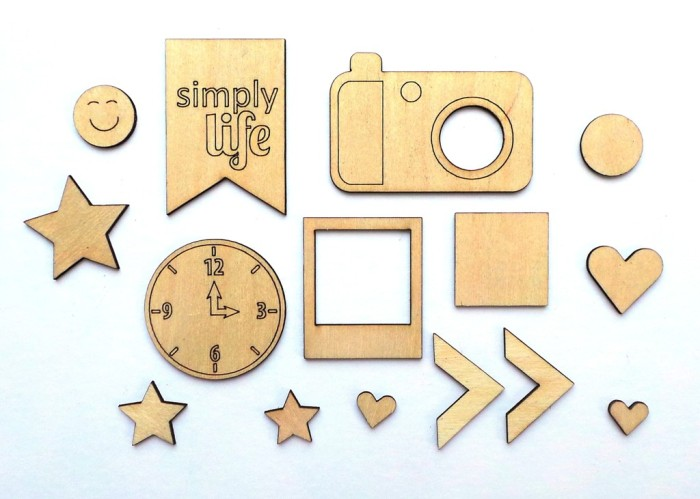 Simply Life Everyday Wood Veneer Shapes at the Happy Scatter Etsy Shop