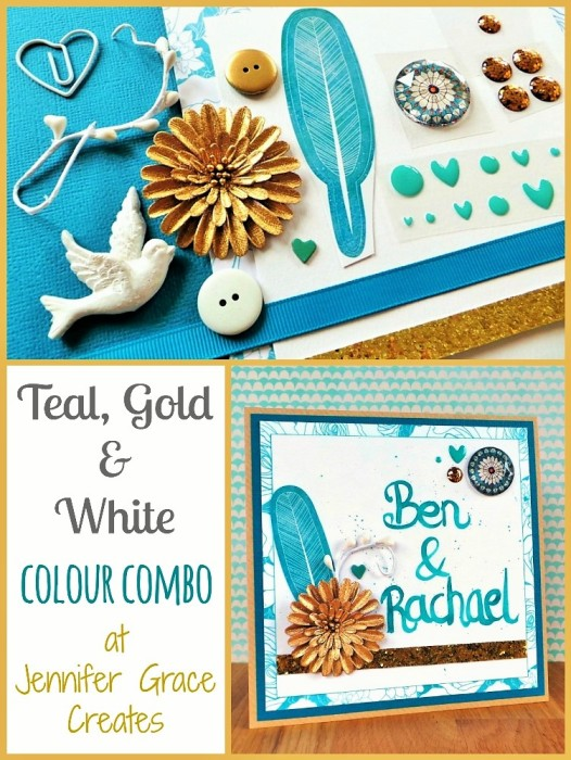 Teal, Gold & White Colour Combination at Jennifer Grace Creates
