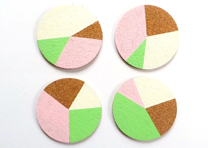 Personalised Pie Chart Cork Coasters at Jennifer Grace Creates