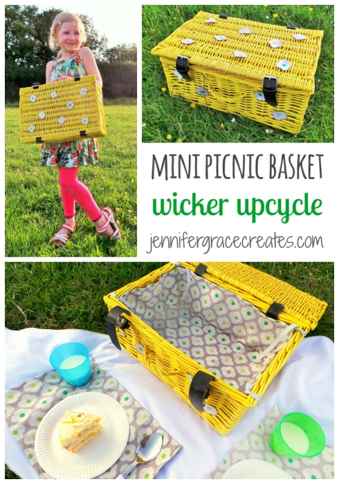 A Mini Picnic Basket Wicker Upcycle at Jennifer Grace Creates for the Hillarys Craft Challenge