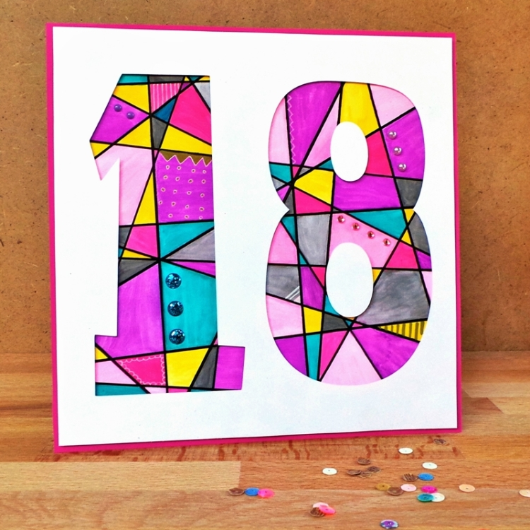 A Watercolour Geometric Pattern (18th B'day Card) at Jennifer Grace Creates