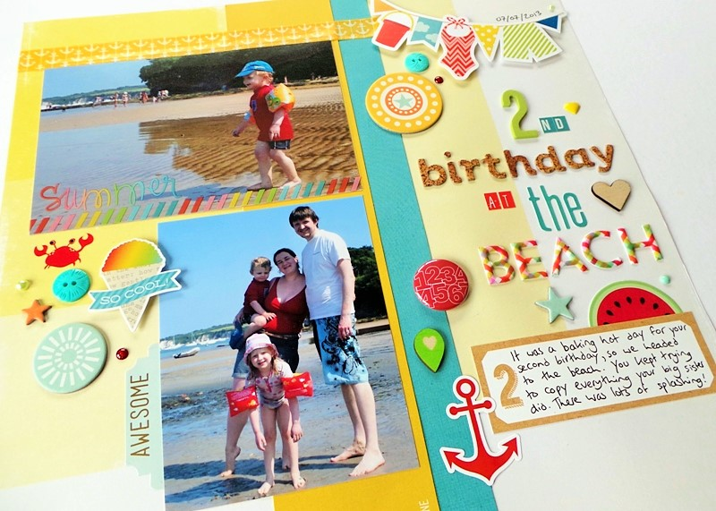 Yellow Aqua Summer Scrapbook Layout at Jennifer Grace Creates