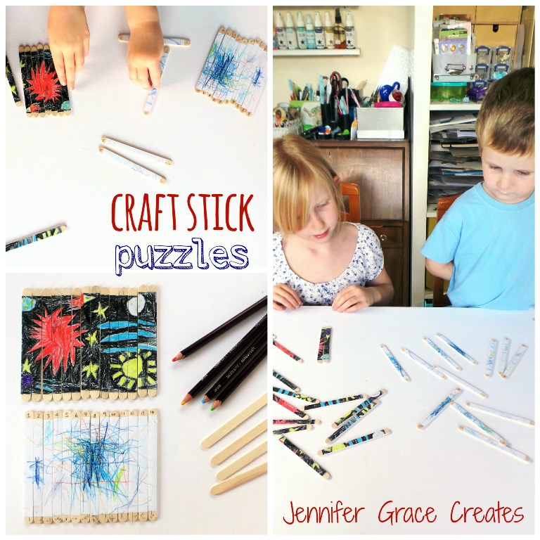 Craft Stick Puzzles - A Rainy Day Kids Activity