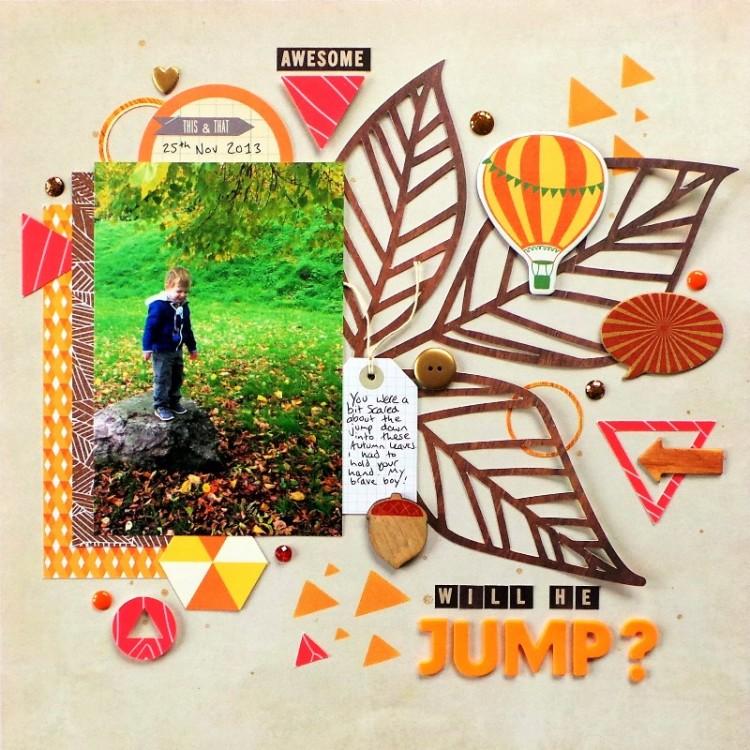 Will He Jump? An Autumn Scrapbook Layout at Jennifer Grace Creates