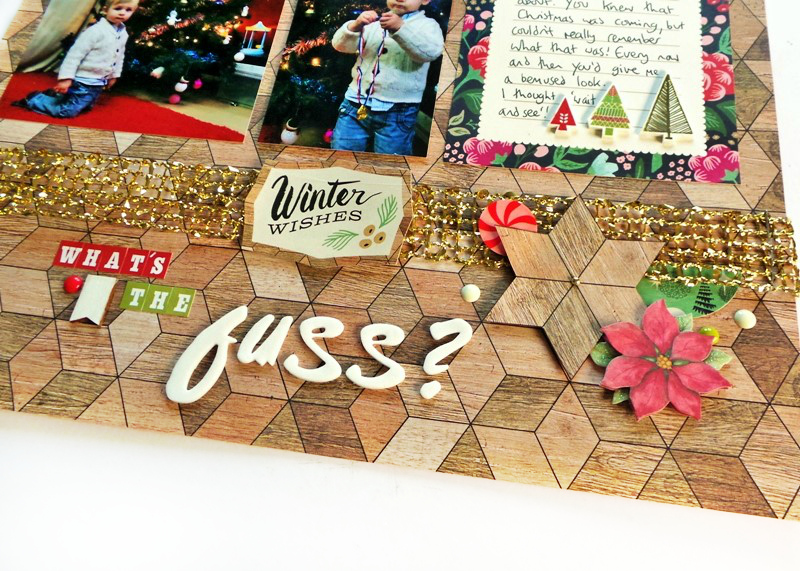 What's The Fuss Layout with Shrink Plastic Embellishments at Jennifer Grace Creates