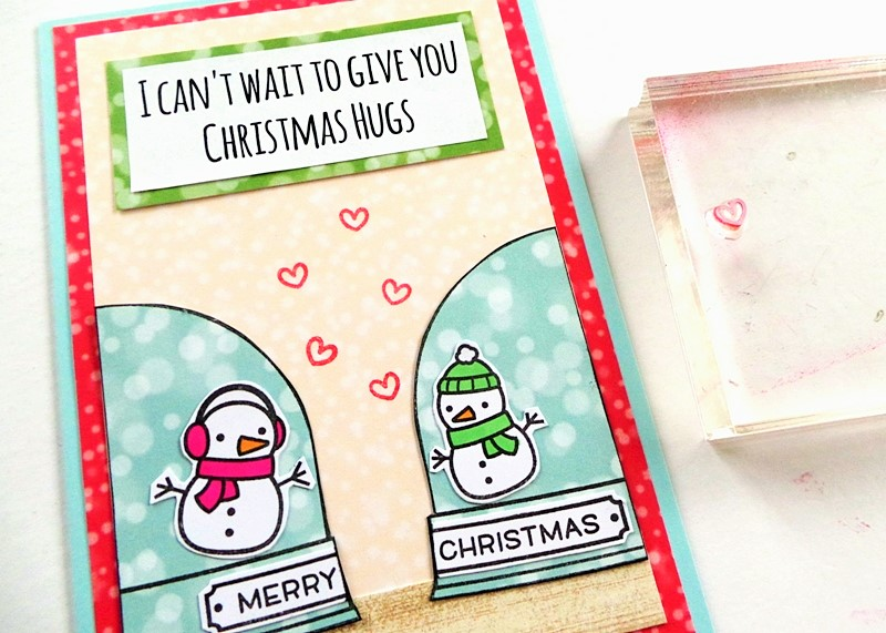 Christmas Hugs Card at Jennifer Grace Creates using the Lawn Fawn 'Ready, Set, Snow' Stamp Set