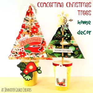 Concertina Christmas Trees Home Decor using My Mind's Eye Christmas On Market Street at Jennifer Grace Creates