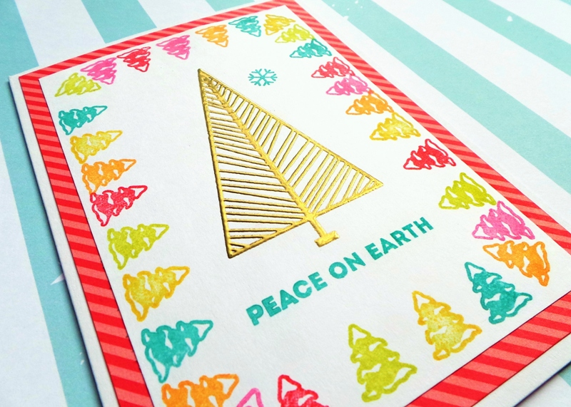 Peace On Earth Colourful Trees Christmas Card by Jennifer Grace Creates