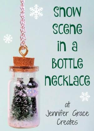Snow Scene In A Bottle Necklace