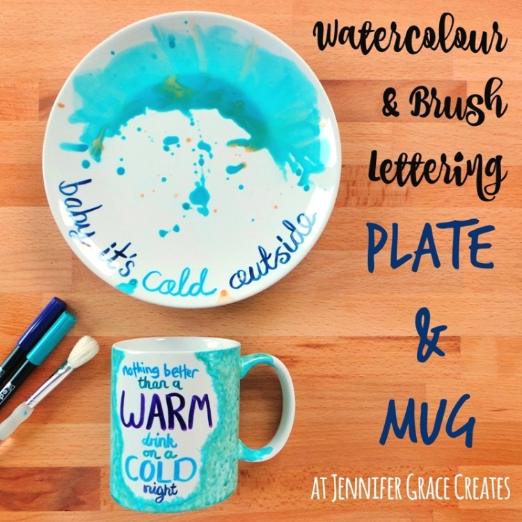 Watercolour & Brush Letter Plate & Mug at Jennifer Grace Creates