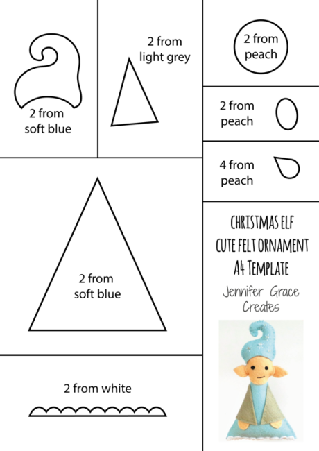 Christmas Elf Cute Felt Onament Template and Tutorial at Jennifer Grace Creates