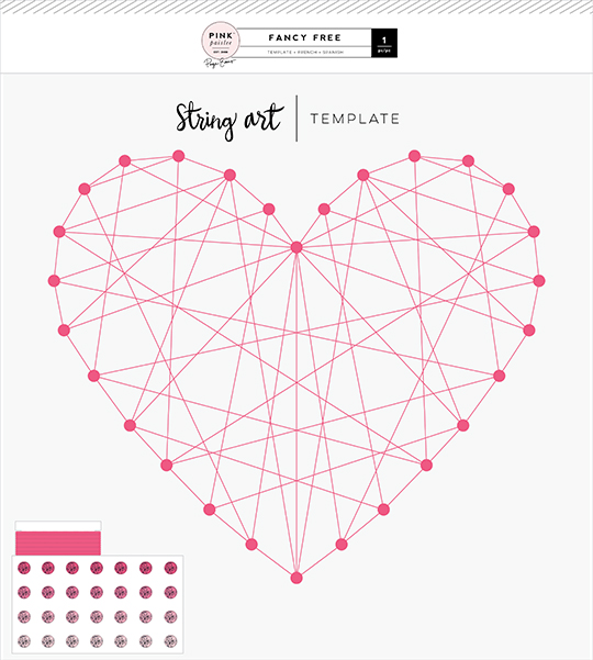 Pink Paislee Fancy Free String Art Template