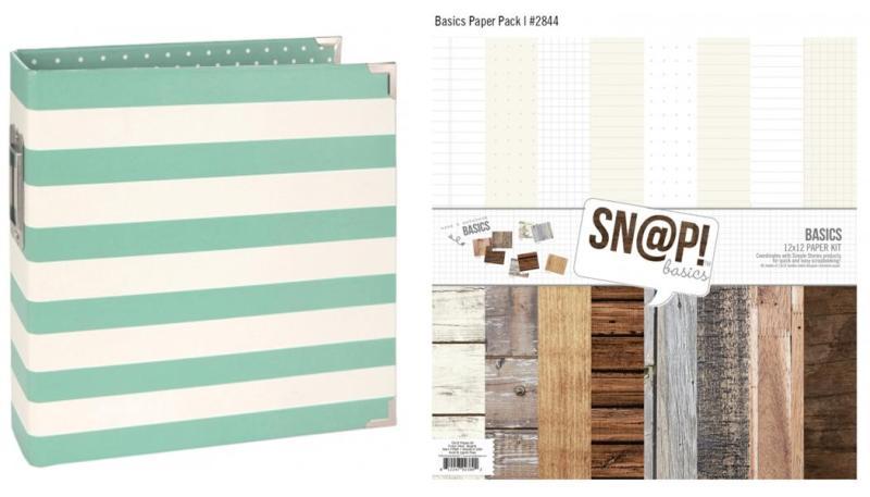 Simple Stories Robin's Egg Binder & 12 x 12 Basics Paper Pack