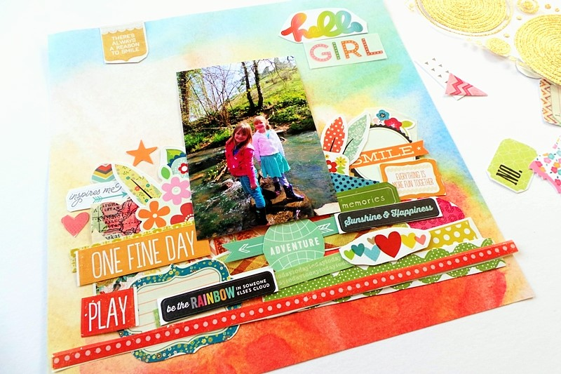 Hello Friends Layout With Stacked Stickers (Layered Stickers) at Jennifer Grace Creates